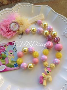 My Little Pony Inspired Girl Necklace- Fluttershy-Chunky-Bubble Gum Necklace- Fluttershy Necklace
