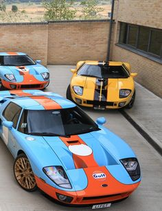 Three Ford Gt's, Gulf racing standard just like the Ford GT40 (Except the yellow one)