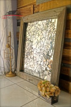 Mosaic Mirror Wall Decor diy broken mirror wall art. fun project and easy to do. tutorial