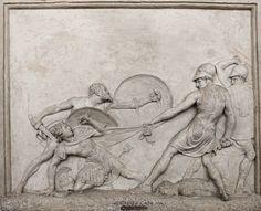 Сократ Сохранение Alcibade в битве при Potidaea.  Антонио Канова. Итальянский 1757-1822. штукатурка.