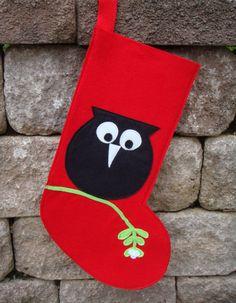 Christmas Stocking  Owl on Mistletoe Christmas in by StudioTree, $25.00