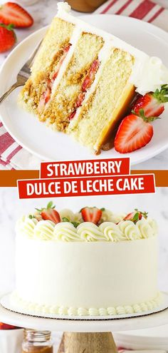 This Strawberry Dulce De Leche Cake is heavenly! It's made with layers of moist vanilla cake filled with dulce de leche and fresh strawberries then finished with vanilla buttercream! A great summer cake! Best Dessert Recipes, Fun Desserts, Delicious Desserts, Moist Vanilla Cake, Vanilla Buttercream, Best Strawberry Cake Recipe, Cupcake Cakes, Cupcakes, Summer Cakes
