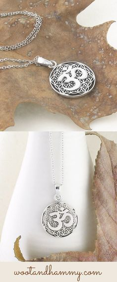 om symbol on a delicate hexagonal mesh, necklace in sterling silver.