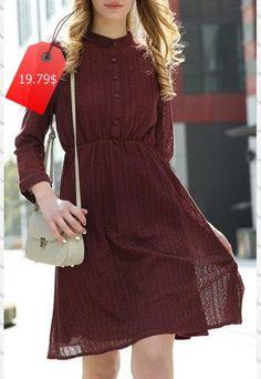 Women's Fashionable Lace Shirt Collar Wine Red Long Sleeve Dress