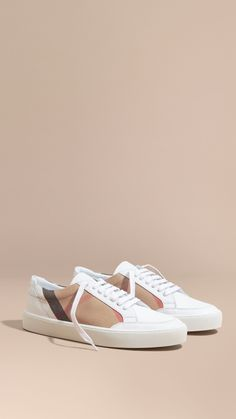 Check Detail Leather Sneakers House Check/ Optic White | Burberry