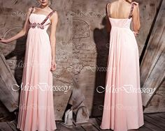 Straps Scoop Neck with Crystal Long Chiffon Pink Prom Dress, Evening Dress, Wedding Party Dress, Prom Gown, Evening Gown, Formal Gown on Etsy, $199.00