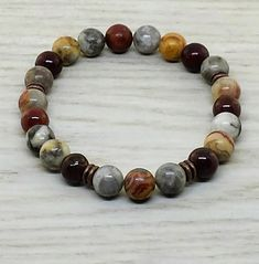 ~ Bracelets by Karen ~ Crazy Lace Agate and Poppy Jasper with Copper Spacers Diy Jewelry, Beaded Jewelry, Jewelery, Handmade Jewelry, Beaded Bracelets, Cool Mens Bracelets, Essential Oil Jewelry, Crazy Lace Agate, Imitation Jewelry