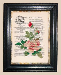Antique Rose  Vintage Dictionary Page Book Art by CocoPuffsArt, $9.99