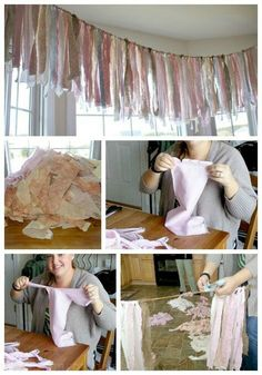 How to make a shabby chic rag banner. A great decoration for a vintage, shabby chic shower or birthday party. Cumpleaños Shabby Chic, Shabby Chic Baby Shower, Shabby Chic Homes, Shabby Chic Bunting, Rag Garland, Fabric Garland, Ribbon Garland, Ribbon Banner, Diy Birthday