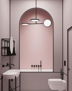 """INTERIOR DESIGN on Instagram: """"For a Parisian apartment, @crosbystudios founder @harrynuriev envisioned a blush pink bathroom that abounds with blackened finishes,…"""""""