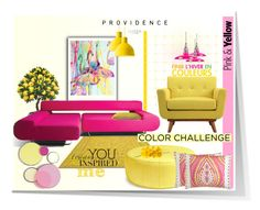 """Pink & Yellow Providence..."" by desert-belle ❤ liked on Polyvore featuring interior, interiors, interior design, home, home decor, interior decorating, Jonathan Adler, Dena Home, Muuto and Steel 