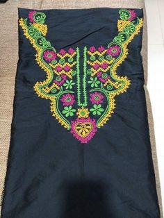 Embroidery Neck Designs, Hand Work Embroidery, Embroidery Motifs, Saree Blouse, Sleeveless Blouse, Silk Kurti Designs, Kutch Work Designs, Neck Pattern, Crochet Necklace