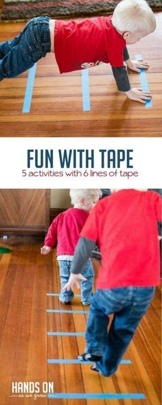 Build gross motors and have fun with 6 simple lines of tape and 5 easy activities that are loads of fun! via Just 6 simple lines of tape can lead to a whole lot of fun with 5 easy activities that also build gross motor skills. Motor Skills Activities, Gross Motor Skills, Indoor Activities, Sensory Activities, Infant Activities, Toddler Gross Motor Activities, Physical Activities For Toddlers, Nursery Activities, Children Activities