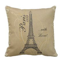 """Paris with Love Throw Pillow. Made with high resolution vector and/or digital graphics for a professional print. NOTE: (THIS IS A PRINT. All zazzle product designs are """"prints"""" unless otherwise stated under """"About This Product"""" area) The design will be printed EXACTLY like you see it on the screen and on the product...so please make sure when you do your changes on the resizing of any of the graphics or text that it fits in the areas correctly and that your spelling..."""