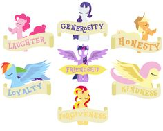 LOVE THIS SILHOUETTE!!!!   Pinkie Pie- Laughter. Rarity- Generosity. Apple Jack- Honesty. Rainbow Dash- Loyalty. Princess Twilight Sparkle- Friendship and Magic. Fluttershy- Kindness. Sunset Shimmer- Kindness.  :D