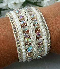 Crystal & White Beaded Leather Cuff Bracelet by TNine Design