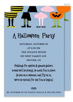 Halloween Costume Party on Blue Invitations