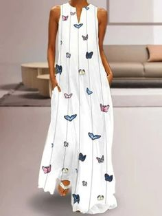 Boho White Maxi Dress with Butterflies 🦋 - vestidos casual verano - White Maxi Dresses, Casual Dresses, Fashion Dresses, Elegant Dresses, Dresses Dresses, Chiffon Dresses, Printed Dresses, Floral Chiffon, Beach Dresses