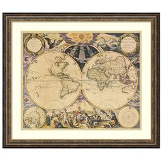 Amanti Art New World Map ($168) ❤ liked on Polyvore featuring home, home decor, wall art, brown, horizontal wall art, map home decor, framed wall art, map wall art and brown wall art
