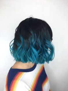 Popular Short Blue Hair Ideas in 2019 - hair color ideas - Brown Ombre Hair, Ombre Hair Color, Blue Ombre, Pastel Blue, Short Blue Hair, Short Hair Cuts, Colored Short Hair, Frontal Hairstyles, Cool Hairstyles