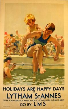 Lytham St Annes (Holidays are Happy Days...Go by LMS), 1930s - original vintage poster by Septimus E Scott listed on AntikBar.co.uk #beach #poster #england - www.varaldocosmetica.it/en the olive oil handmade cosmetics from the Riviera .