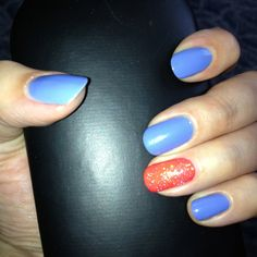Plain & simple nail design coral and light blue