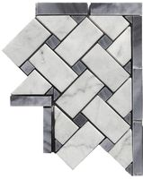 Carrara Venato Honed Basketweave Bardiglio Gray Marble Corner available online exclusively sold through The Builder Depot. Honed Marble, Marble Mosaic, Gray Marble, Mosaic Tiles, Marble Tile Bathroom, Bath Tiles, Shower Tiles, Basket Weave Tile, Basket Weaving