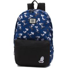 Vans x Peanuts Calico Small Backpack (130 PLN) ❤ liked on Polyvore featuring bags, backpacks, blue, day pack backpack, logo backpacks, logo bags, vintage bags and pocket backpack