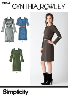 2054 Misses' Dresses. Cynthia Rowley Collection  Misses' knit dresses and cowl - collar sewing pattern, Cynthia Rowley Collection. See video tab for Cynthia Rowley fashion show footage!