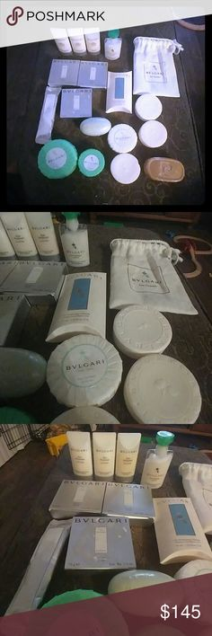 BULGARI authentic Lot of 18 pieces of bathroom things, 9 soaps, 3 conditinneur, 1 body lotion, 1 shampoo & body gel, 1 refreshing towel, 1 pierre Cardin soap & 1 little bulgari bag. Open to offers!!! BULGARI Other