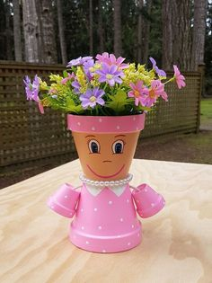 Little Miss clay pot People Terracotta Planter by Pot Mama is a simple .Little Miss clay pot People Terracotta Planter by Pot Mama is a simple . - How to Care for Potted Plants Choose . Clay Flower Pots, Flower Pot Crafts, Painted Flower Pots, Painted Pots, Clay Pots, Flower Pot Art, Clay Clay, Clay Pot Projects, Clay Pot Crafts