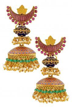 Silver Gold Plated Multi Enamel Chaand Pearl Drop Jhumki #Indian #Jewellery