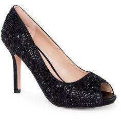 Lauren Lorraine Black Paula Sparkle High Heel - Women's ($109) ❤ liked on  Polyvore