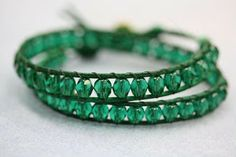 "Beading the ""Bead World"" Way: Emerald Leather Wrap Bracelet Tutorial DIY"