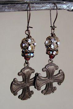Vintage Rhinestone and Cross's Earrings~