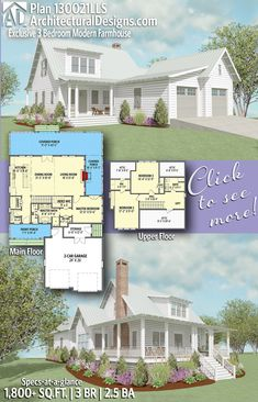 Like this but, I hate a garage on the front of a house. It takes away from the main focus. So I would just flip this plan. Introducing Architectural Designs Exclusive Modern Farmhouse House Plan with 3 Bedrooms 2 and a half baths in Sq Ft+. The Plan, How To Plan, 1500 Sq Ft House, Mountain House Plans, Open Concept Floor Plans, Modern Farmhouse Plans, Paint Colors For Living Room, Modern House Design, House Floor Plans
