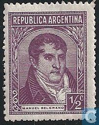 Stamps - Argentina [ARG] - 1946Manuel Belgrano, abogado, estadista y militar argentino. En 1810 formó parte de los patriotas que pretendían la emancipación del dominio español en Argentina, y se convirtió en miembro de la Junta de Gobierno revolucionaria. Fue nombrado General, y pronto dirigió a las tropas independentistas frente a los realistas.