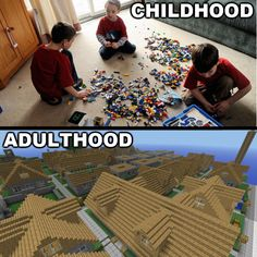 Legos were my life when I was a kid, now I have Minecraft! This is so true!