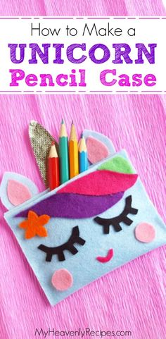 This Unicorn Pencil Case craft is SOO cute and super fun to make! It's a great k… This Unicorn Pencil Case craft is SOO cute and super fun to make! It's a great kid-friendly craft that can be made with just a few simple supplies. Craft Projects For Kids, Diy Crafts For Kids, Toddler Crafts, Easy Crafts, Arts And Crafts, Easy Diy, Diy Projects, Unicorn Pencil Case, Diy Pencil Case