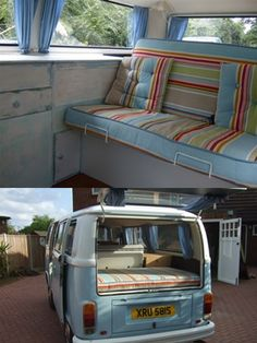 Campervan seat covers in deckchairstripes Cricket fabric