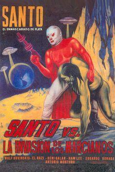 Lucha Libre - Cartel de Cine - Santo vs La invasión de los marcianos.