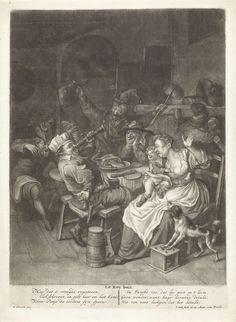 Jacob Gole | Driekoningen, Jacob Gole, 1670 - 1724 | Rond een eettafel viert een vrolijk gezelschap Driekoningen. De man met de koningsmuts op slaat een fluitglas drank achterover. Vanaf de schoot van zijn moeder plast een kind in de bek van een hond die met de voorpoten op een stoofje staat.