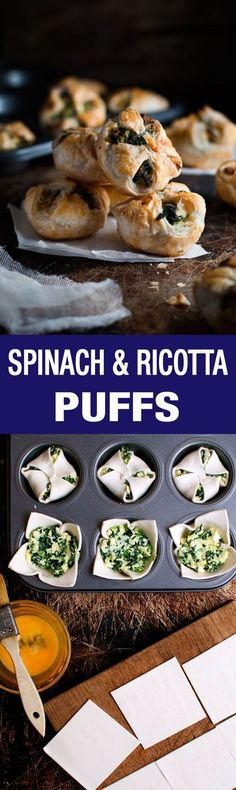 and Spinach Puff Pastry Bites Cheese & Ricotta Puffs - a cute twist on the usual pockets, made in a muffin tin!Cheese & Ricotta Puffs - a cute twist on the usual pockets, made in a muffin tin! Vegetarian Recipes, Cooking Recipes, Healthy Recipes, Cooking Eggs, Spinach Puff Pastry, Spinach Ricotta, Tofu Ricotta, Fingers Food, Recipetin Eats