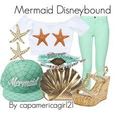 Mermaid Disneybound by capamericagirl21 on Polyvore featuring Mermaid Hat by Cakeworthy
