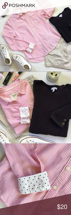 """A&F Classic Cotton Shirt A classic cotton shirt with front chest pocket, lightweight cotton, in an adorable pink and white stripe. If pink isn't feminine enough, they've added a sweet fabric inside the cuffs so you can turn them up for a preppy look.  ◽️Excellent pre-loved condition  ◽️Smoke free/Pet free  ◽️Bust 19.5"""" 18.5"""" ◽️Length Front 25"""" ◽️Length Back 27""""    J-4.17 Abercrombie & Fitch Tops Button Down Shirts"""