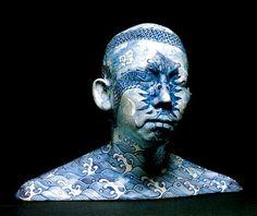 Ah Xian. Bust sculptures painted Chinese porcelain ceramics, modern art.