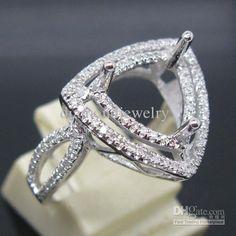 Wholesale Engagement Ring - Buy TRILLION CUT 9.0MM SOLID 14K WHITE GOLD NATURAL DIAMOND Wedding SEMI MOUNT SETTING RING, $545.45 | DHgate
