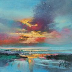 My favorite  Scott Naismith Cyan Arran Study   30 x 30 oil on canvas scottish landscape painting