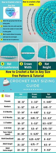 to Crochet Basic Hat in Any Size - free pattern & tutorial How to crochet a hat in any size - free pattern and tutorial at Crochet For You.How to crochet a hat in any size - free pattern and tutorial at Crochet For You. Crochet Hat Sizing, Crochet Beanie Pattern, Crochet Chart, Crochet Baby Beanie, Kids Crochet Hats Free Pattern, Crochet Hook Sizes Chart, Crochet Gratis, Free Crochet, Knit Crochet