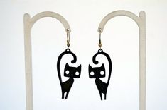 Items similar to black cat leather earrings on Etsy Leather Necklace, Leather Jewelry, Cat Jewelry, Unique Jewelry, Etsy Earrings, Drop Earrings, Unique Gifts, Handmade Gifts, Best Christmas Gifts